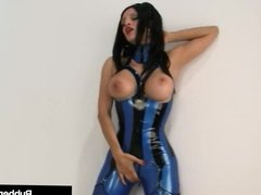 Latex Hottie Raven Black Shoves Face In RubberDoll's Cunt!