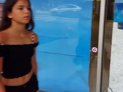 Candid voyeur latina teen beauty black shorts so hot