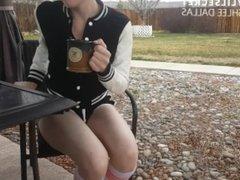 POV Cute Girl Gets CUM BLASTED Outside - OurDirtyLilSecret