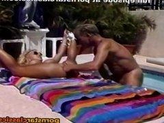 Retro blonde pornstar fucks anal by the pool