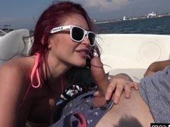 BANG Real MILFs - Monique Alexander sucks cock on a boat