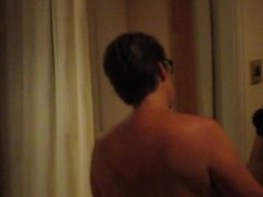 Curvy arsed British wife dries her hair