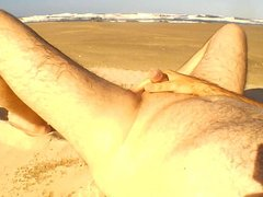 Me on the deserted beach peeing and cumshot