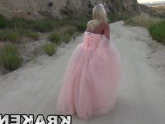 Hot blonde MILF with princess dress in an outdoor scene