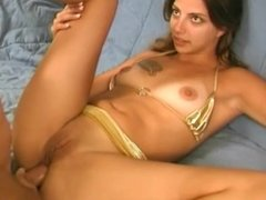 Hot brunette masturbates while getting fucked in the ass