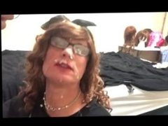cum facial destroys sissy CD's face - brenda44cd