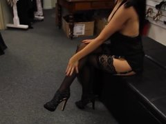 Girl in extremly short black drsess and hot heels