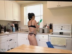 Watching her clean in bra and panties
