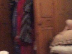Hidden cam partner dressing white panties