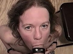 PUTS ON COLLAR AND LEASH AND SUCKS OFF NEW COCK ON XHAMSTER