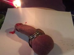 Hot wax torture, extremely covered glans with candle wax