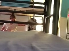 teen girl roommate changing in front of me at hostel