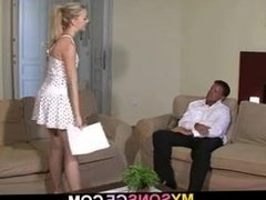 Young blonde cheats with old dad and gets busted