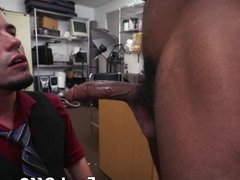 Bearded homosexual has interracial fuck session for money