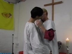 Skinny twink and his lover friend get naughty in the church