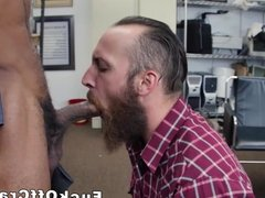 Bearded straight dude takes cash for interracial ass fuck