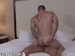 Thick beefy military cock sucked and bounced on by a hunk