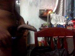 young man masturbating with black cock
