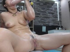 Toying pussy with big dildo