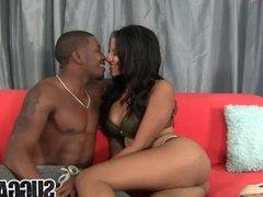 A Well Hung Black Guy Fucks Ebony Slut Sadie Santana and Cums in Her Eye