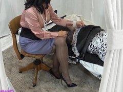 Mistress Milks Sissy Maid With Femdom Handjob
