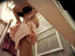 Dressing room, no panties, purple dress