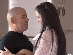 OLD4K. Pretty teen and old dad spend vacation by having...