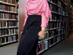 muslim girl flashing in the library
