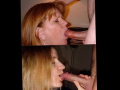 2 amateur wives sucking cock to music
