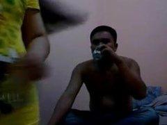 Pornstar Juliet Delrosario Drinking With Black Man in Hotel