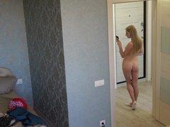Czech teen Ela - Nude Selfies. Hidden spy cam at home.