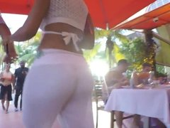 Sexy ass in see through white pants