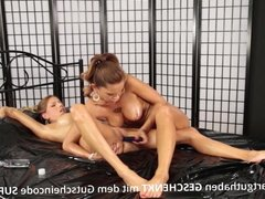 Hot German Lesbians Have Fun With Oil And Dildo!