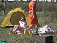 Outdoor teen couple fuck intensely by the grill
