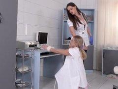 Dominant Nurse Kendra Star Spanks Submissive Coworker Lena Nitro in Clinic