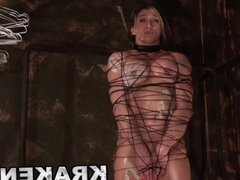 Muscled woman tied in a homemade BDSM scene