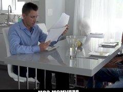 PervMom - Horny Blonde Milf Jerks Stepson At Table