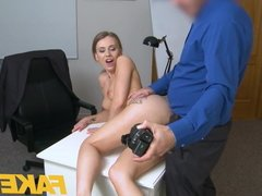 Fake Agent Hot office fuck for slender sexy naughty British