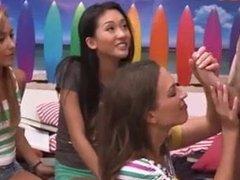 Shy asian girl shown how to suck dick