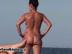 Tight pussy naked Milf playing volleyball at the beach