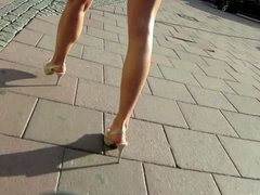 Candid Brunette in thight Dress and High Heels