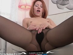 Wet Pussy - Redhead pisses on floor after sex toy play