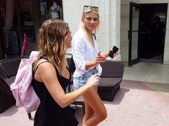 Candid voyeur beautiful blonde model shopping
