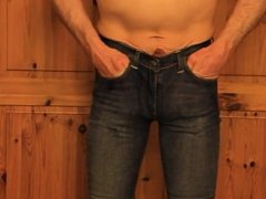 tight jeans rubbing my cock