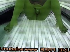 Solarium Blonde teen fingers herself  Public www.solarium.tv