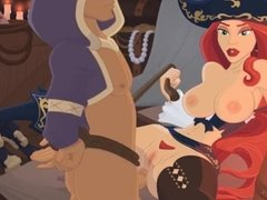 Erotic pirate wench Miss Fortune gets her pussy and ass fucked by a slave