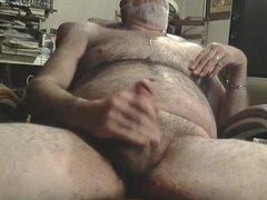 Hairy silver daddy bear jacking off
