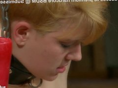 Little blonde tortured with wax and spanked hard by master