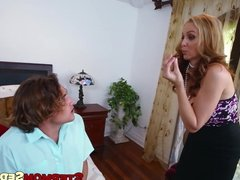 Teen maid and tiny dude fuck with big breasted mommy