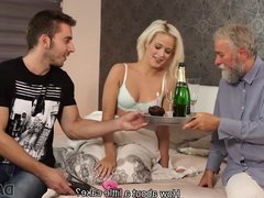 DADDY4K. Blonde celebrates birthday together with horny...
